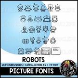 Robots Picture Font {Educlips Clipart}