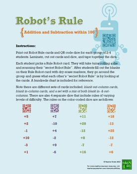 Robot's Rule (Addition & Subtraction within 100) QR Code A