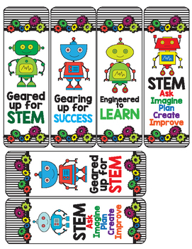 Robots - STEM - Robotics - Gears Book Marks