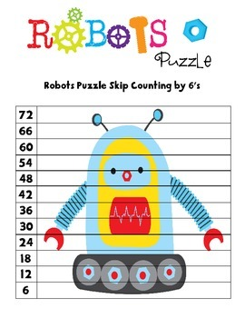 Robots 2 to 12 Skip Counting Puzzles