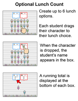 Robots Theme Attendance with Optional Lunch Count - Interactive Whiteboards