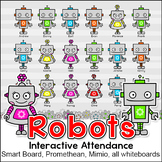 Robots Theme Attendance Chart with Optional Lunch Count: Interactive Whiteboards