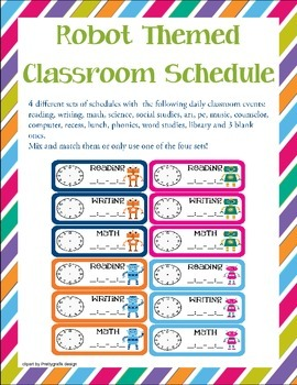 Robots Themed Classroom Schedule