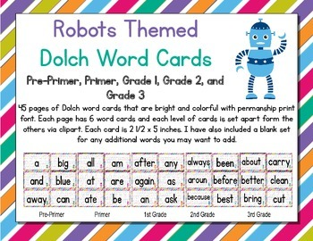 Robots Themed Decor Dolch Word Cards (Pre-Primer-3rd Grade)