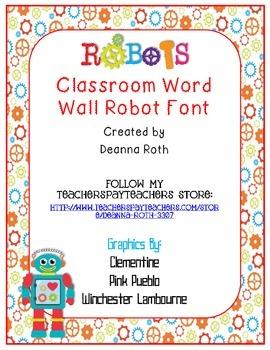 Robots Word Wall Headers {Robot Font}