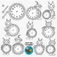 Robots and Clocks Clip Art