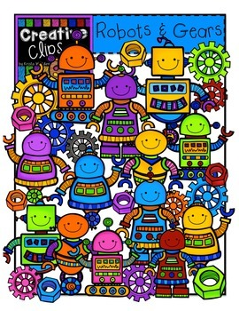 Robots and Gears {Creative Clips Digital Clipart}