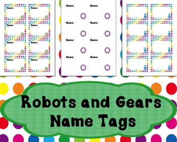 Robots and Gears Themed Name Tags