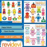 Robots clip art (3 packs)
