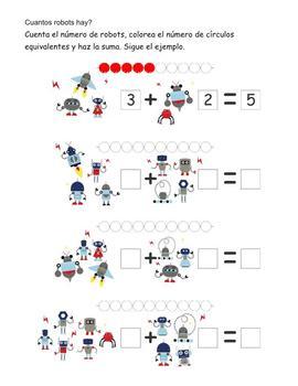 Robots - fichas de matemáticas y lectoescritura #02
