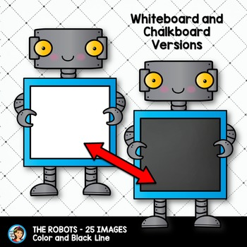 Robots Clip Art holding Whiteboards and Chalkboards