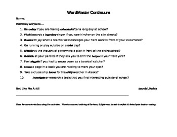Robust Vocabulary Continuum Activity