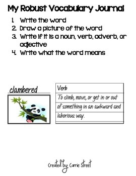 Robust Vocabulary Journal-Common Core-Black and Bright