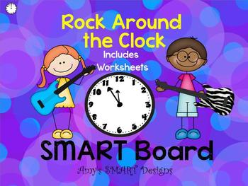 Telling Time: Rock Around the Clock SMART Board With Worksheets