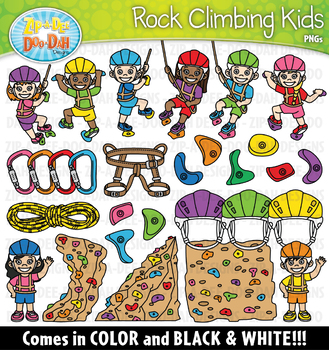 Rock Climbing Kids Clipart {Zip-A-Dee-Doo-Dah Designs}
