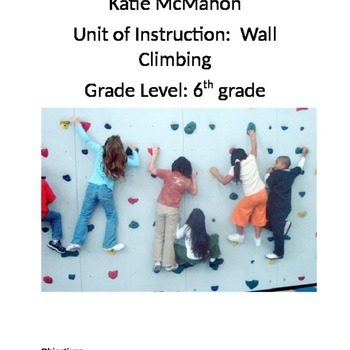 Rock Climbing Unit Plan With Assessments