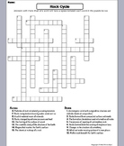 The Rock Cycle Worksheet/ Crossword Puzzle (Geology Unit)