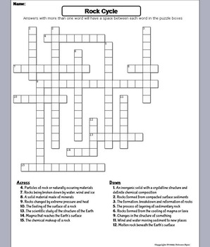 The Rock Cycle Worksheet/ Crossword Puzzle (Geology Unit) by Science ...