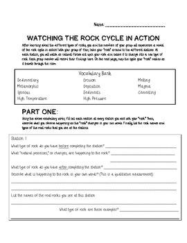 Rock Cycle Demonstration Worksheet