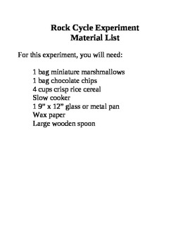 Rock Cycle Experiment Material List