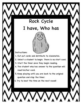 Rock Cycle I have Who has Game