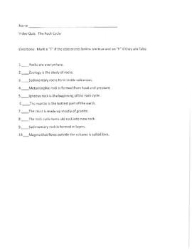 Rock Cycle Quiz