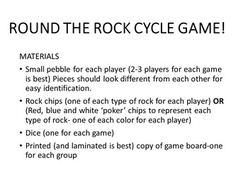 Rock Cycle Review Board Game simple, station activity