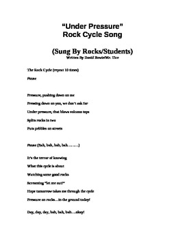 """Rock Cycle Song-To the classic """"under pressure!"""""""