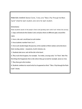 Rock Cycle Station Travel with Differentiated Projects and Grading Rubric