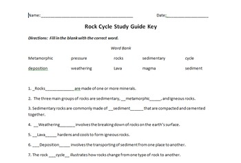 Rock Cycle Study Guide
