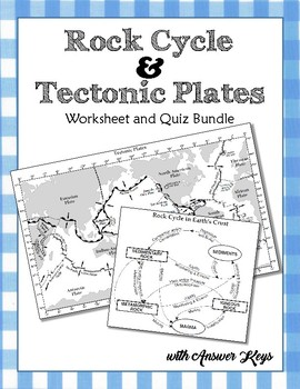 Rock Cycle & Tectonic Plates Worksheets and Quizzes Bundle with Answer Key