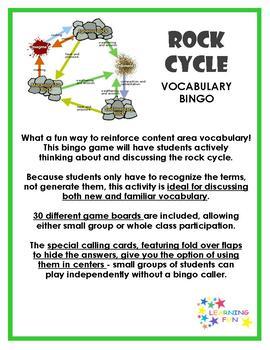 Rock Cycle Vocabulary Bingo