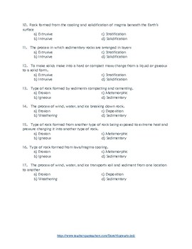 Rock Cycle Quiz With Vocabulary List
