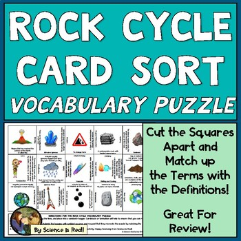 Rock Cycle Vocabulary Puzzle Card Sort