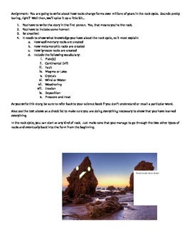 Rock Cycle Writing Project