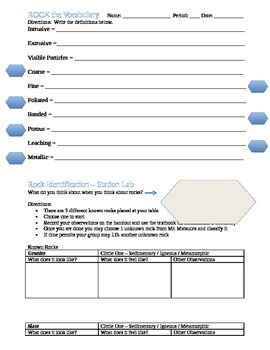 Rock Identification Vocabulary and Activity Printable