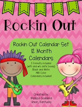 Rock It Out Calendar Set : Includes 12 months, Color and B&W, 48 Total