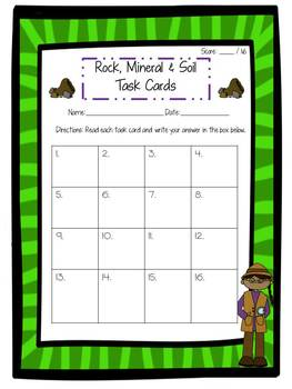 Rock, Mineral, and Soil Task Cards