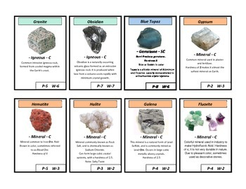 Rock, Minerals, Gems - Review Card Game -