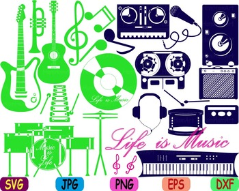 Rock Music jazz svg clip art Musical Instruments guitar note trumpet drum -80s
