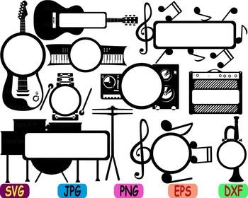 Rock Music jazz svg clip art Musical Instruments guitar note trumpet drum -84s
