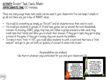 Rock 'N' Roll Activity Set (MATH ONLY- Task cards and Order of Op. Challenge)