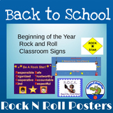 Beginning of Year Back to School Rock Star Classroom Theme Signs and Posters