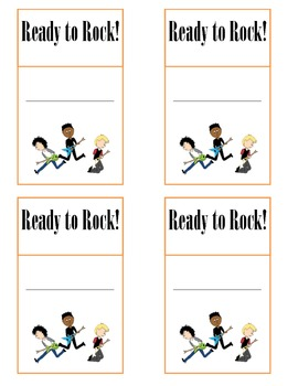Rock N Roll Theme Attendance Cards