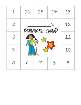 Rock-N-Roll Themed Behavior Card