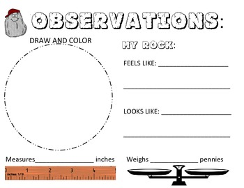 Rock Observations Book- length & weight in metrics & english describe properties