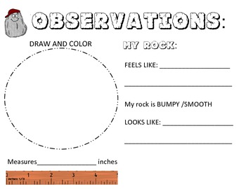 Rock Observations Book- length & weight in metrics & english describe properties