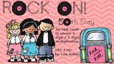 Rock On! 50th day of school task cards on multiplication