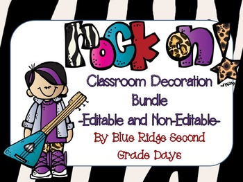 Rock On Editable Classroom Decorations Bundle