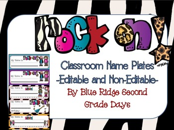Rock On Editable Name and Desk Plates